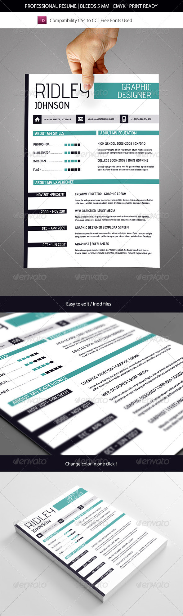 indesign resume template 2014