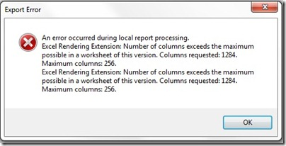 Max columns error in excel SSRS