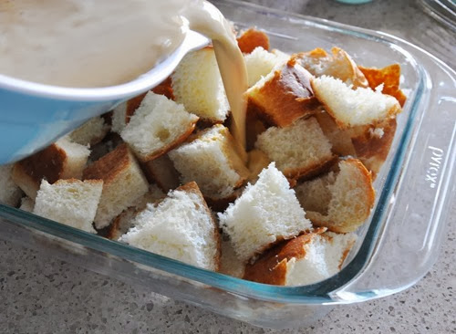 spoon, press the bread down into the custard making sure all the bread ...