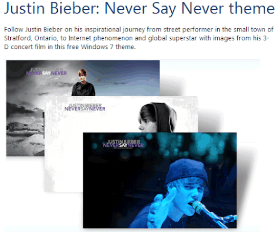 Microsoft Released 'Justin Bieber: Never Say Never' Theme For Windows 7