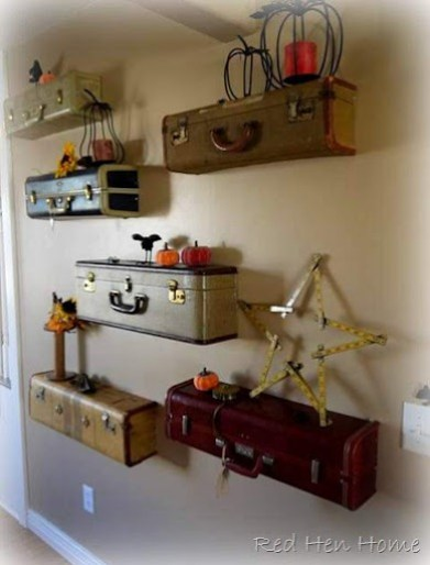 Suitcases turned shelves