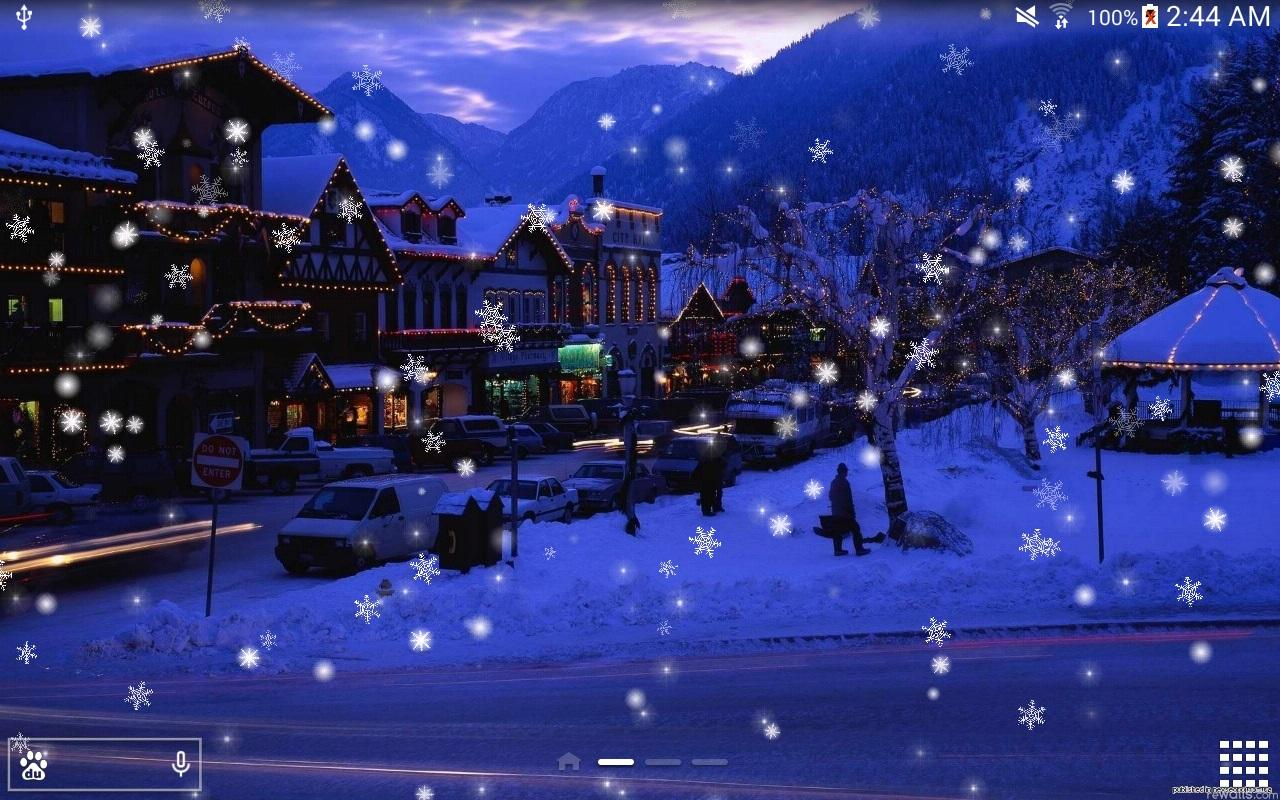 3d Snow Falling Wallpaper Snow Night City Live Wallpaper Android Apps On Google Play