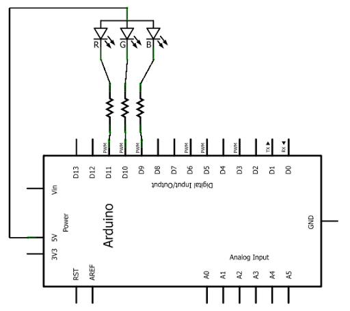 arduino tricolour led flasher circuit