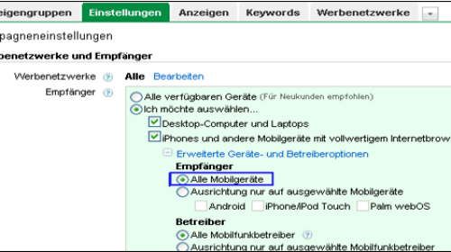 Screenshot AdWords Mobilgeräte