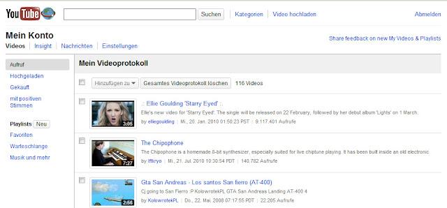 """Das neue Interface für """"Meine Videos"""" - Das YouTube-Protokoll"""