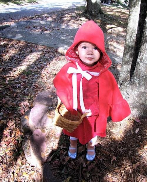Červená Karkulka doma vyrobená maska na karneval