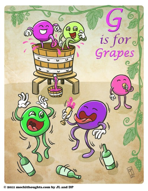 Cute Food Comic, Cute Comics, Alphabet Series, G is for Grapes