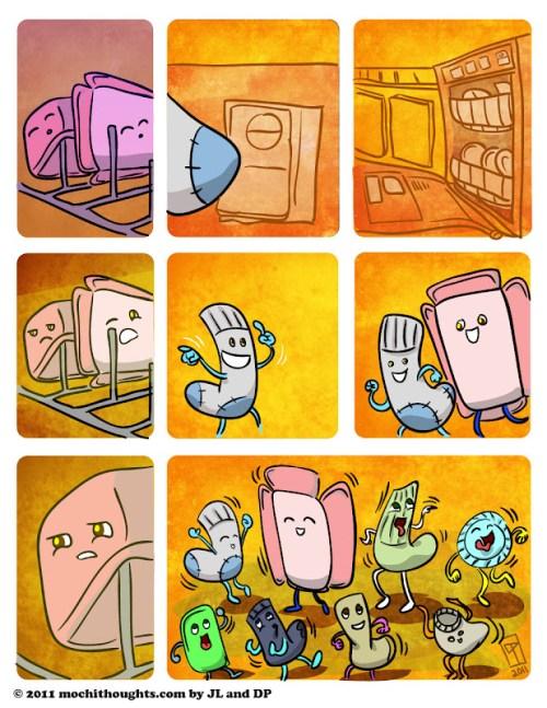 Cute Comic, Mystery of the Missing Lids, Runaway Socks