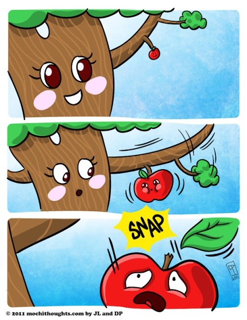 Cute Food Comic, The Apple doesn't fall too far from the tree.