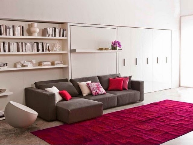 Mueble Cama Abatible Horizontal Matrimonio Cama Plegable Con Sofa Tipo Chaislongue Ideal Para