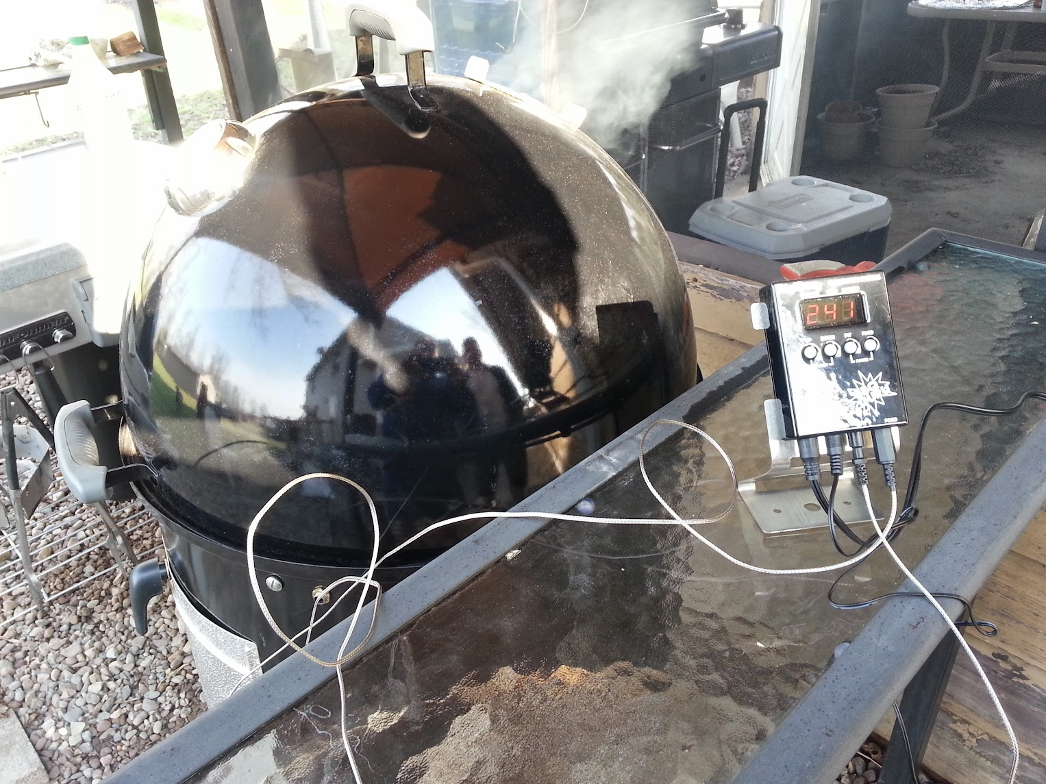 Bbq Guru Party Q 1st Smoke With Digiq Dx2 In My 22 5 Wsm With 2 Pork Bone Shoulders
