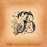 4 lettere stilizzate dal mondo delle fate: B S R Z tattoo e bricolage