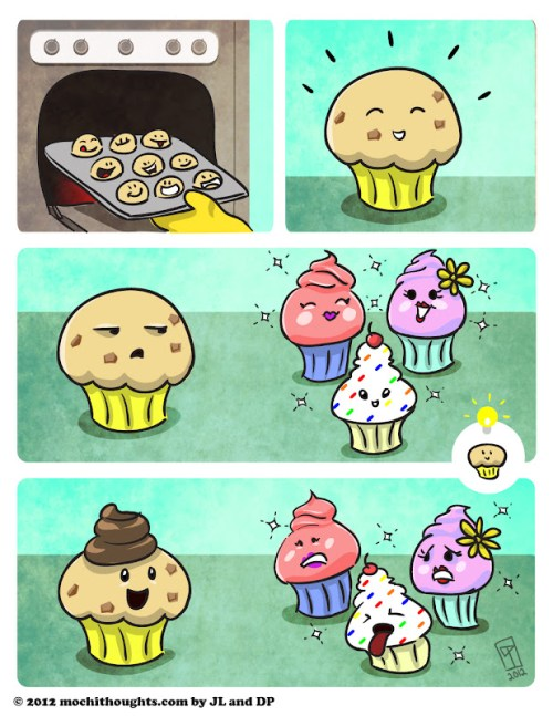 Cute Food Comic Muffins versus Cupcakes