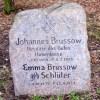 cyrkiel i węgielnica na nagrobku J. Brussowa w Leśnie Górnym