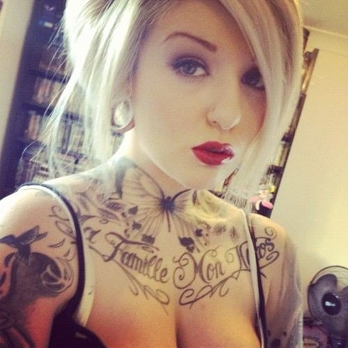 girls chest tattoos