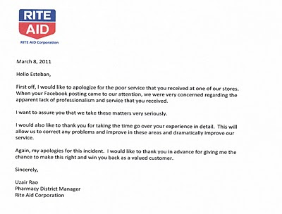 Rite Aid Pharmacy and Store Apology Letter to Esteban Escobar - How To Make An Apology Letter