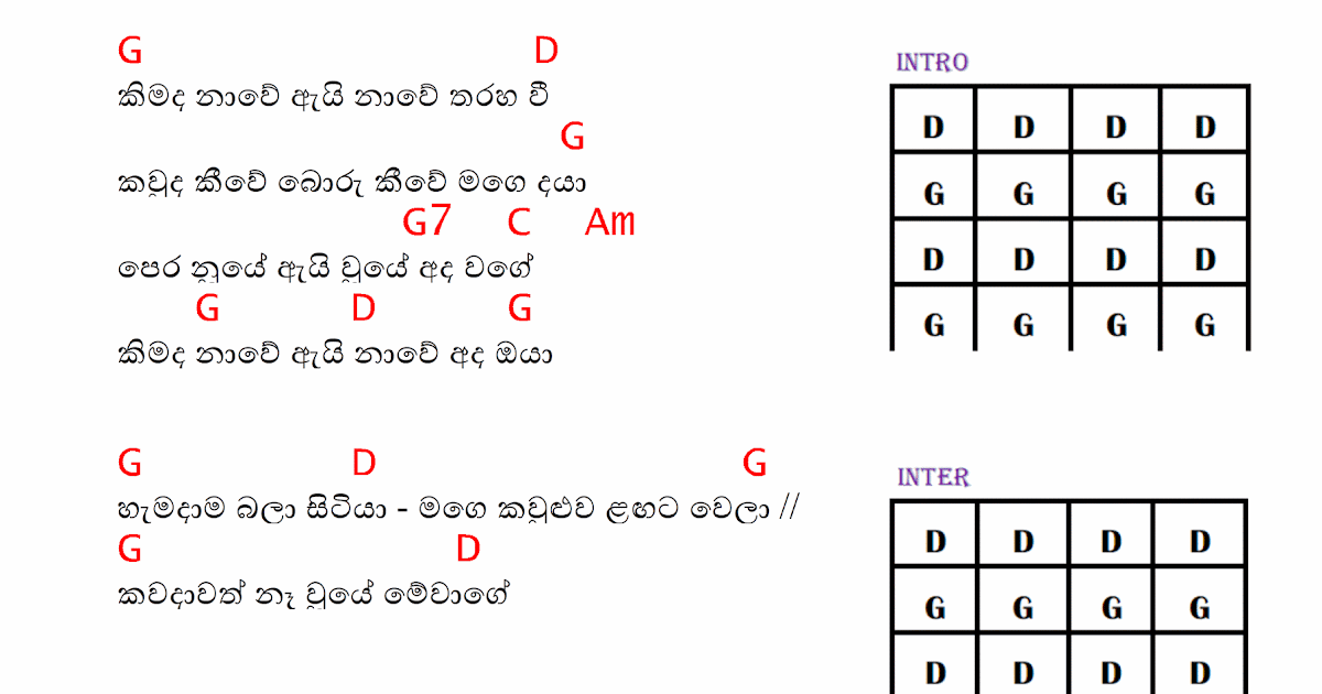 Kimada Nawe Chords Sinhala Guitar Lessons With Tabs And Great Cars
