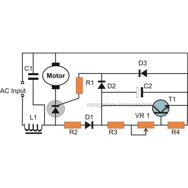 dc motor controller diagram with scr and cmos ic