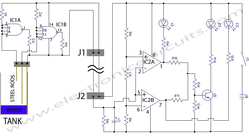 simple water level indicator electronic circuits and diagram