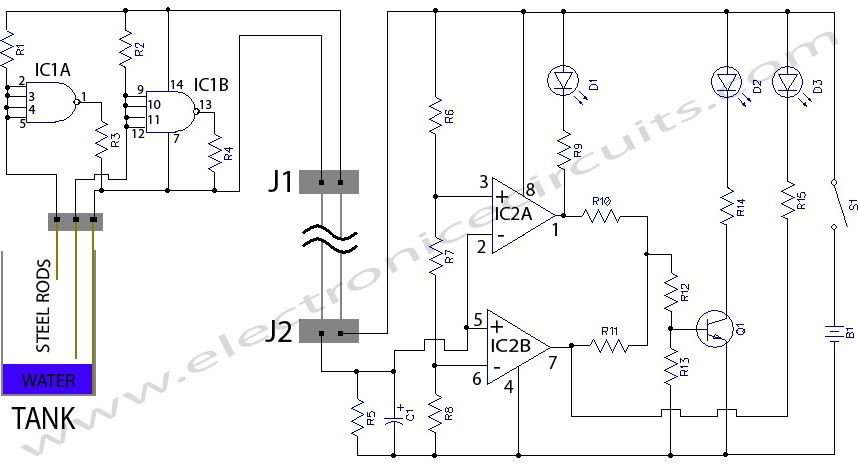 alarm water level indicator electronic schematic circuit diagram