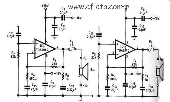 32w power amplifier circuit based tda2050