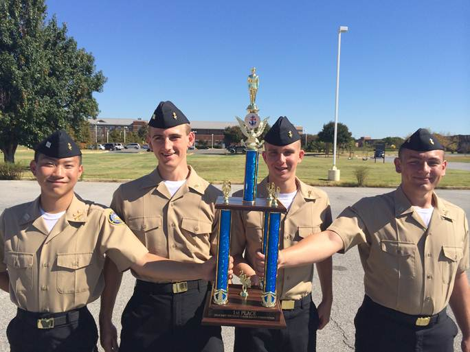 The NJROTC drill team takes first place in the Navy League Birthday Ball