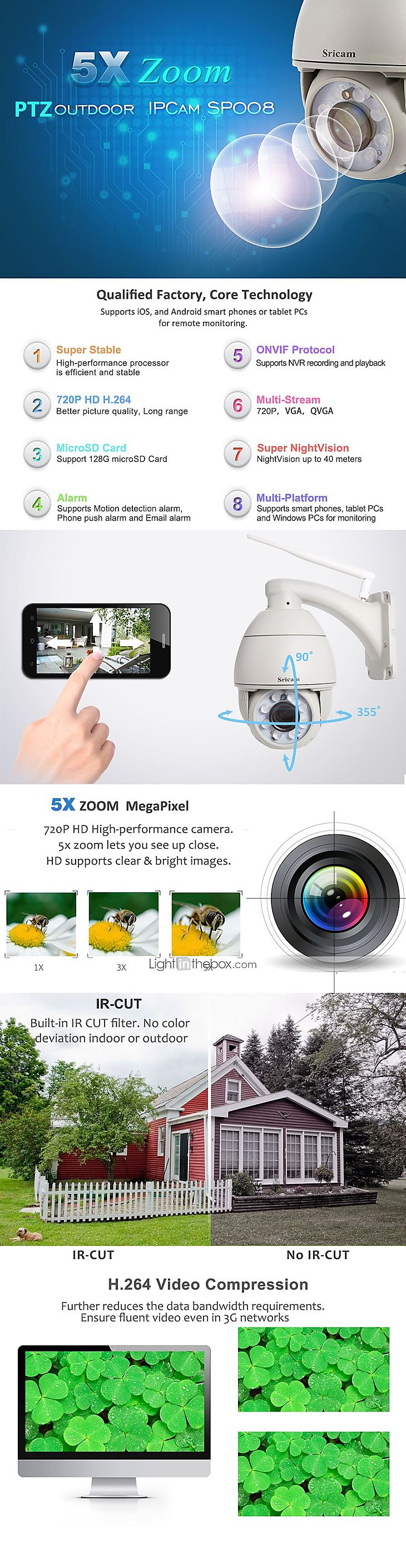 Camera Exterieur New Deal Sricam 1 Mp Ip Camera Outdoor Support 64 Gb Cmos 50 60