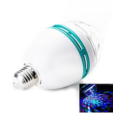 E27 3W 180lm 3-LED Red-Green-Blue Light RGB Rotation Light Bulb