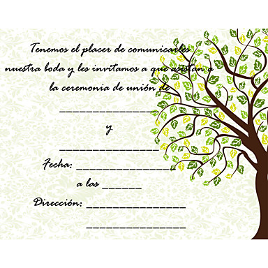 Personalize Wedding Invitation Cards -Green Hope Tree (Set of 50