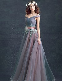 Ball Gown Off Shoulder Floor Length Tulle Over Lace Prom ...