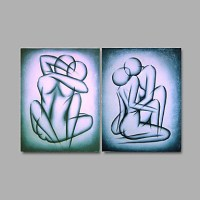 Oil Painting Canvas Couple Love Alluring Bedroom Handmade ...