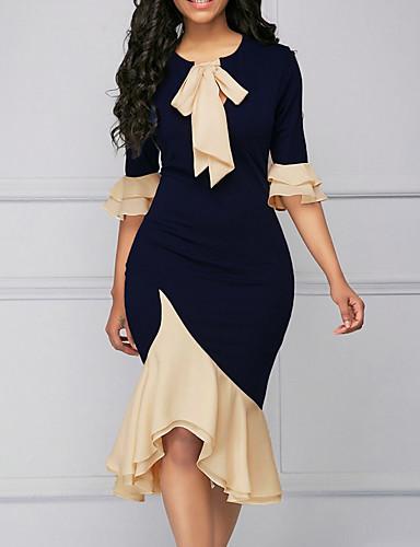 Women\u0027s Daily Work Sexy Bow Elegant Asymmetrical Sheath Dress Ruffle