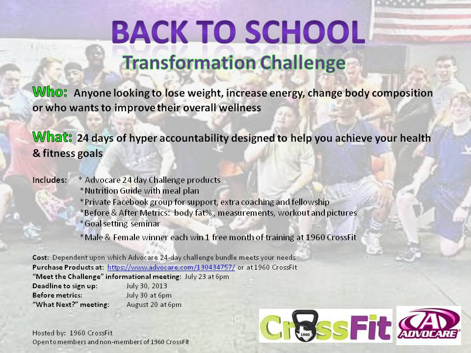 Back to School Transformation Challenge \u2013 Liani Oistad Fitness - 24 day challenge guide