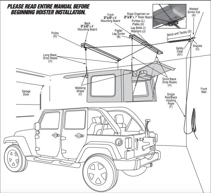 install jeep top hoist