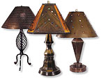 Mexican Rustic Tin Lamp Shades - Aged Tin and Glass
