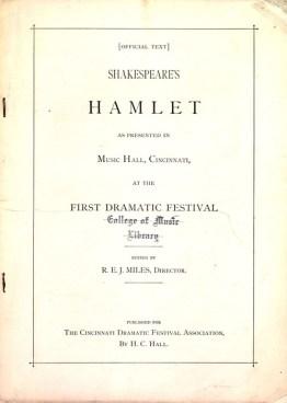 Script of Hamlet, presented in Music Hall, Cincinnati