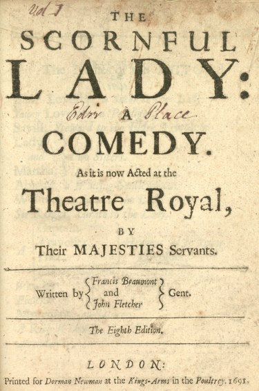 The Scornful Lady Title Page