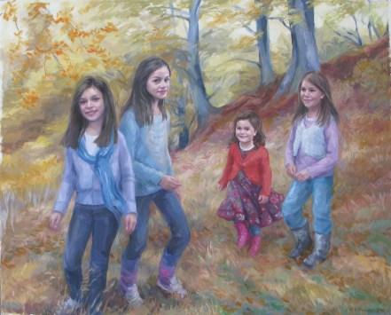 'Girls in the Beechwood' Oil 38 x 34in