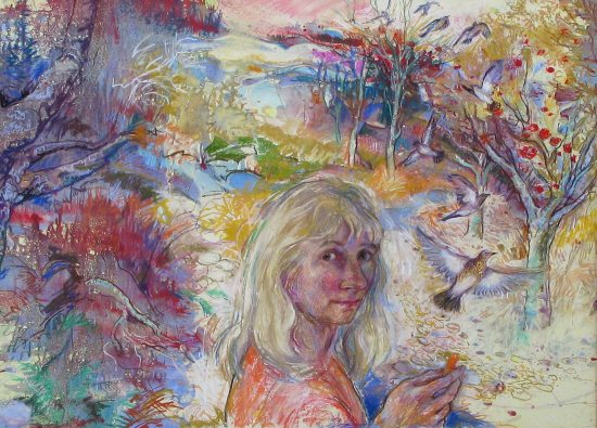 """Passing Through' Selfportrait with Fieldfares, mixed media 32 x 23in"