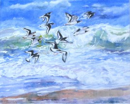 'Oystercatchers and Waves' watercolour 15 x 12in