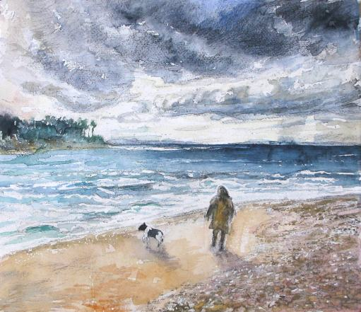 T36 'Beach Walk at Findhorn' 14x12""