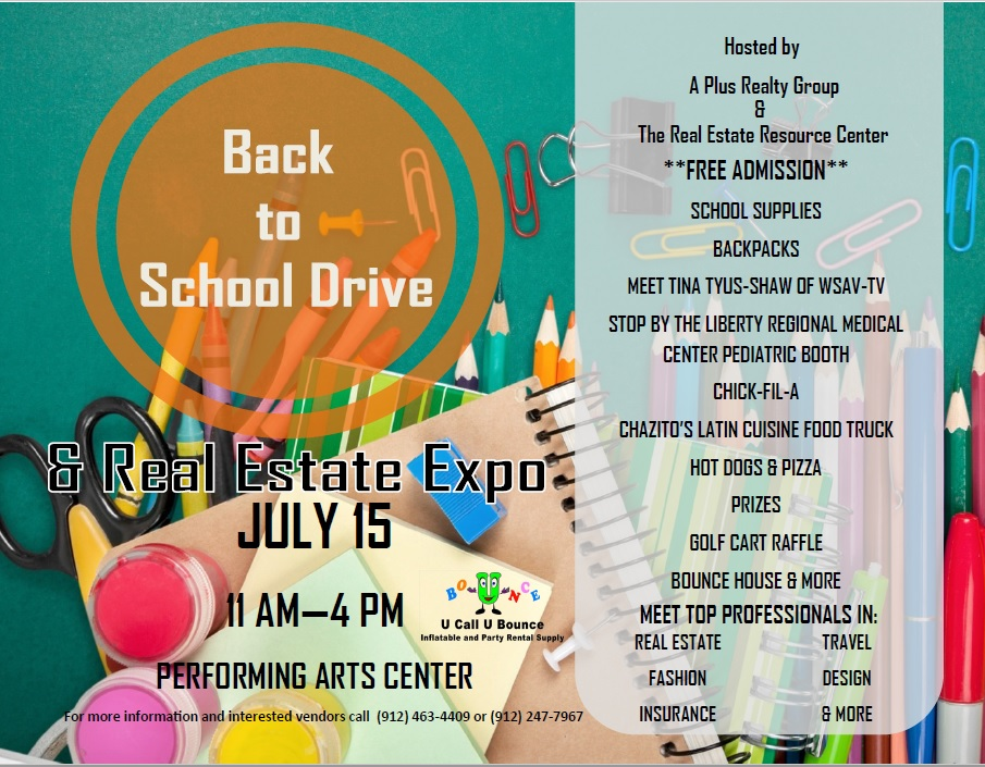 Back to School Drive  Real Estate ExpoLiberty County, Georgia - back to school flyers