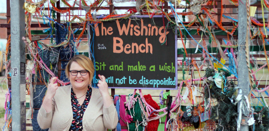 molly at wishing bench