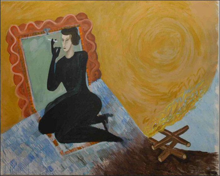 Révész László László: Búcsú az álmoktól II, 1986 (200x250cm, olaj, vászon)