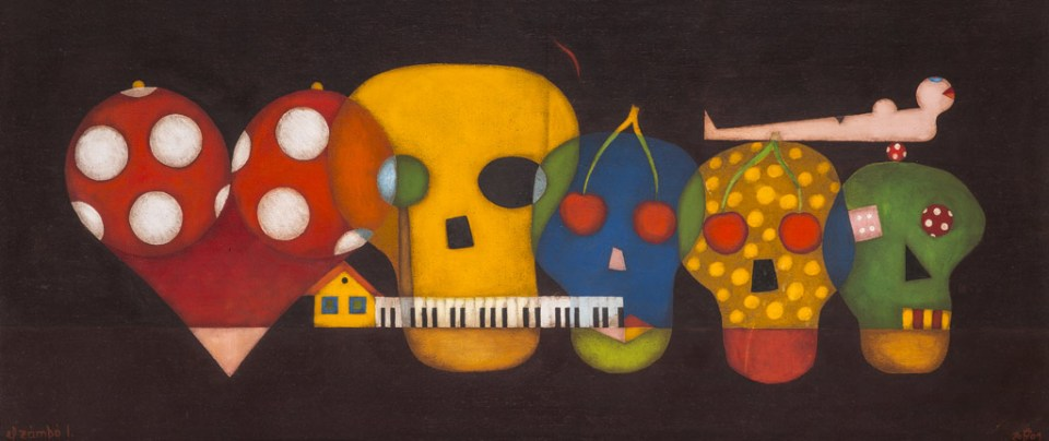 Zenés koponyák, olaj, farost, 50x120 cm, 2001.