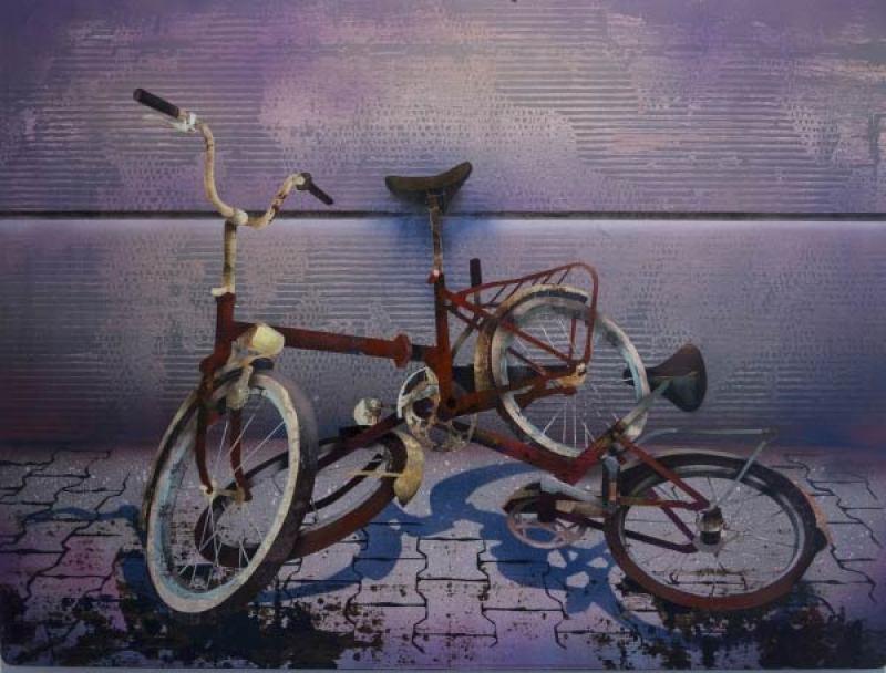 Rossz szavak (2016 - 60x80cm - akril, bükkfa) két bicikli