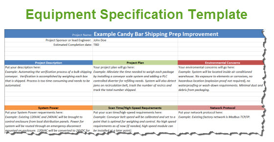 Equipment Specification Template For Automation Projects - mechanical equipments list