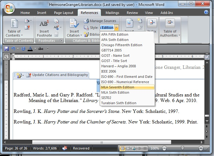 Using Microsoft Word to Create References and Bibliographies0