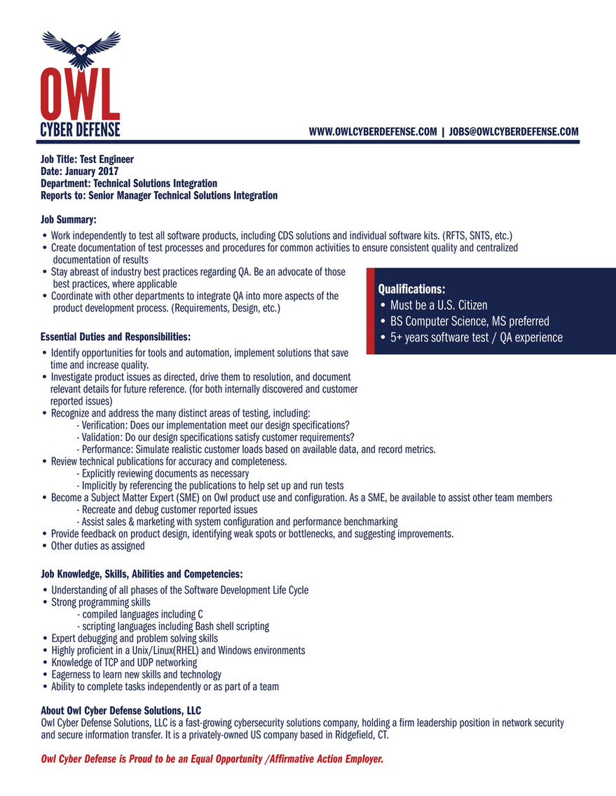 Integration Job Owl Cyber Defense Careers Test Engineer Technical Solutions