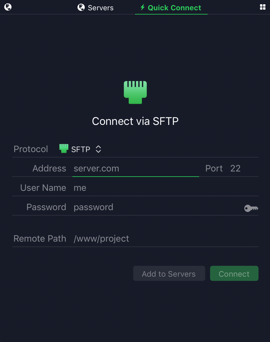 Einrichten Quickconnect Managing Server Connections In Transmit